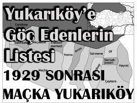 1929 Sonrası Yukarıköy e İlk Gelenler ( GÜNCEL)